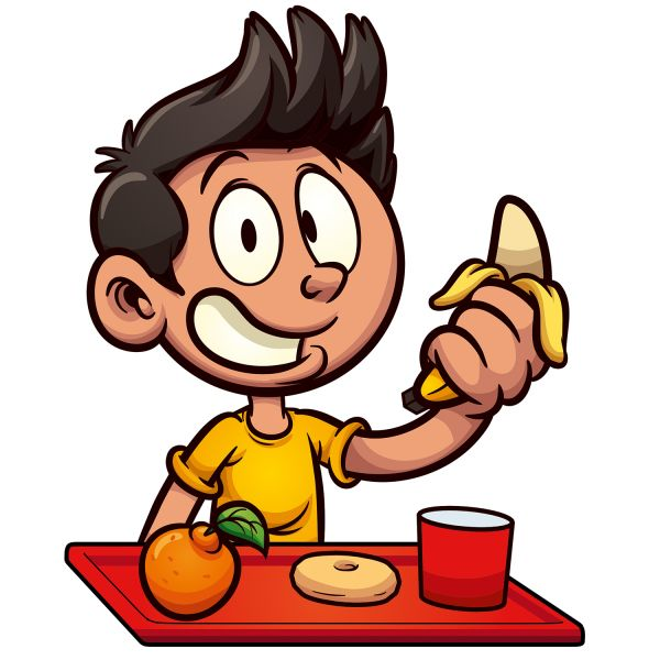 Раскраска еда мальчик в школе ест фрукты банан, апельсин и ...