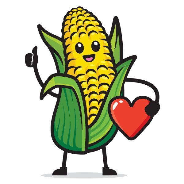 Раскраска еда милая кукуруза овощь распечатать