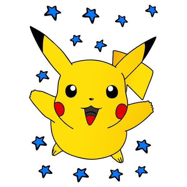 Раскраска Пикачу счастливый в звездах распечатать ...