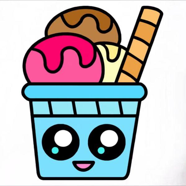 Раскраска еда мороженое в стаканчике распечатать