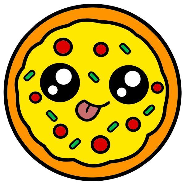 Раскраска еда вкусная пицца с глазками. кавай распечатать