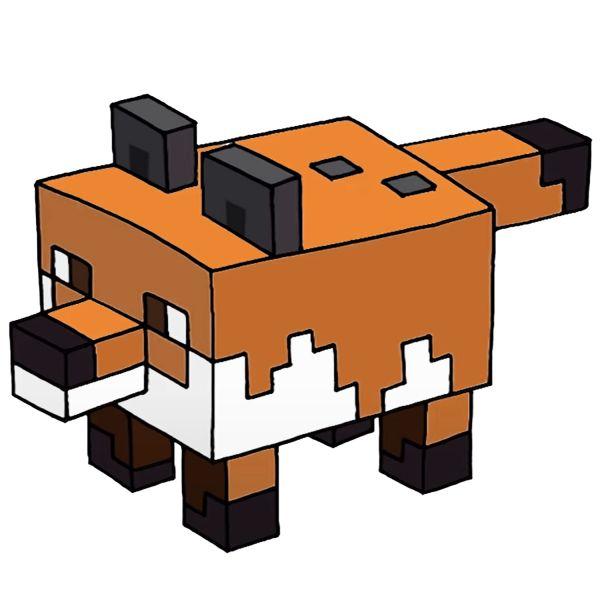 Раскраска майнкрафт лиса распечатать   Minecraft
