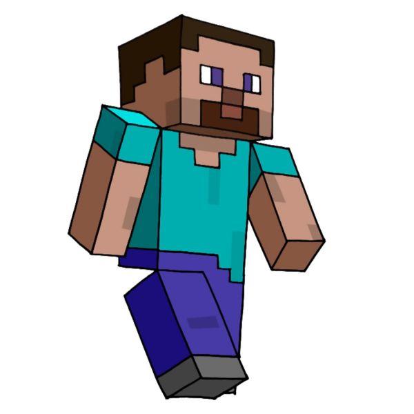 Раскраска майнкрафт стив идет распечатать   Minecraft