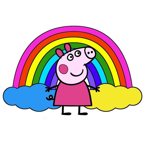 Раскраска Свинка Пеппа, радуга в хорошем качестве ...