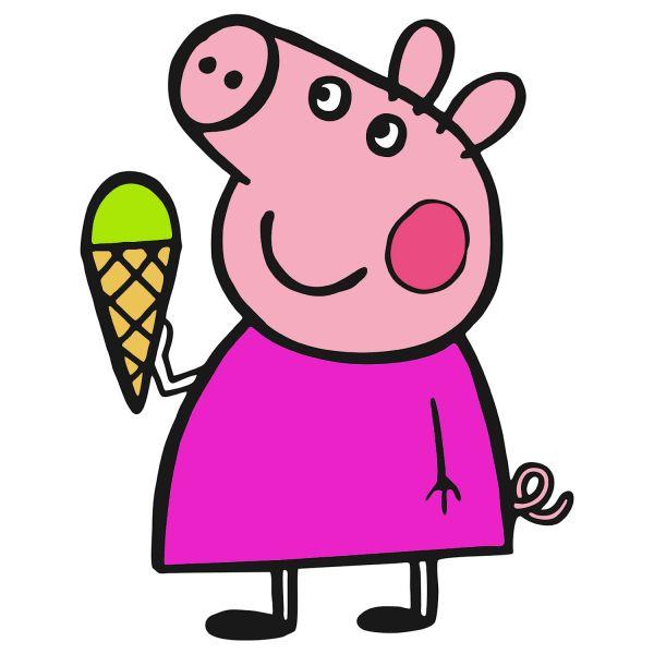 Раскраска Свинка Пеппа, ест мороженое в хорошем качестве ...