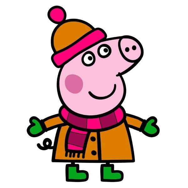 Раскраска Свинка Пеппа, зимой в хорошем качестве ...