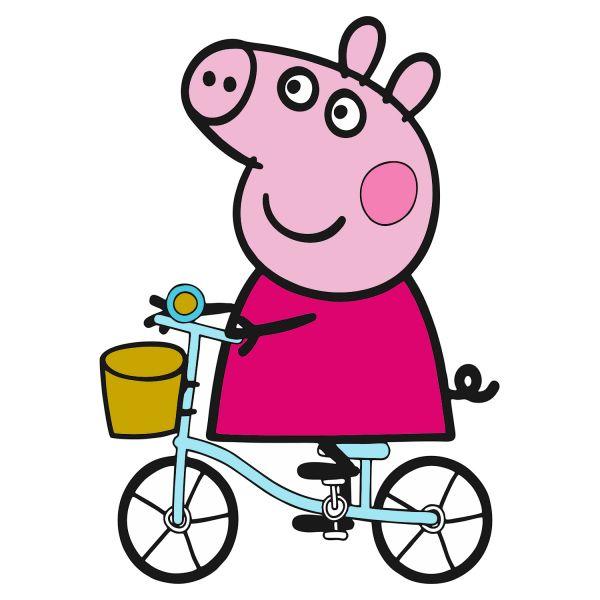 Раскраска Свинка Пеппа, на велосипеде в хорошем качестве ...