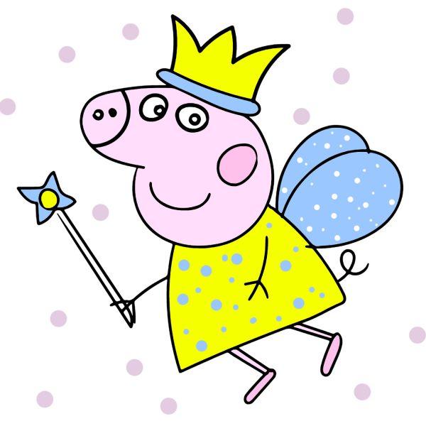 Раскраска Свинка Пеппа, фея с короной в хорошем качестве ...