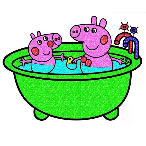 Раскраска Свинка Пеппа, в ванне в хорошем качестве ...