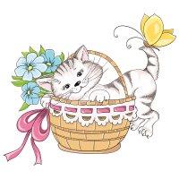 Раскраска котенок в корзинке распечатать | коты, котята и ...
