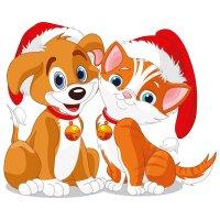 Раскраска котенок и щенок новый год распечатать бесплатно