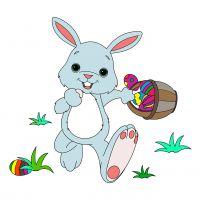 Раскраска заяц с корзинкой яиц распечатать бесплатно