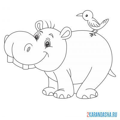Print a coloring book cheerful hippo with a bird on A4