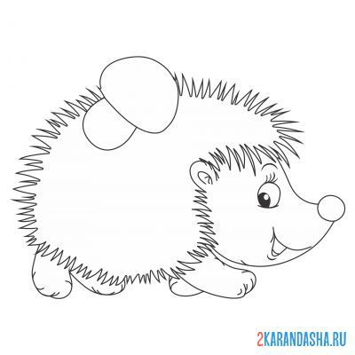 Print a coloring book hedgehog carries a mushroom on A4