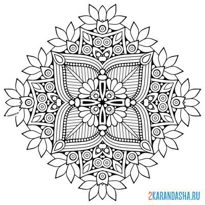 Print a coloring book wealth mandala on A4