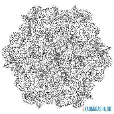 Print a coloring book tranquility mandala on A4