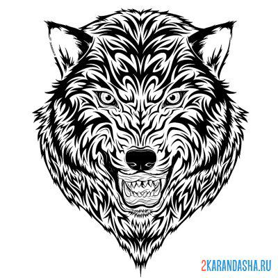 Print a coloring book wolf head on A4
