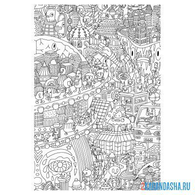 Print a coloring book city small details on A4