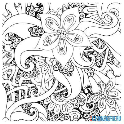 Print a coloring book flowers patterns on A4