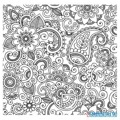 Print a coloring book indian motive on A4