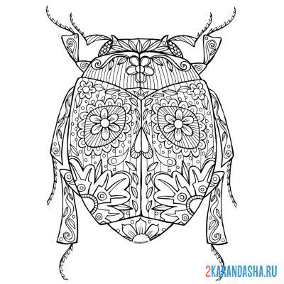 Print a coloring book beetle patterns on A4