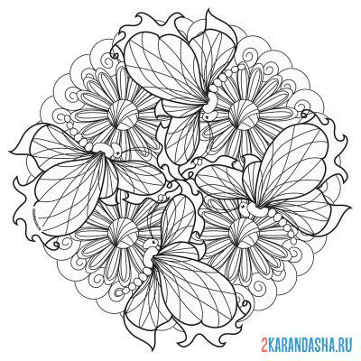 Print a coloring book mandala flower on A4