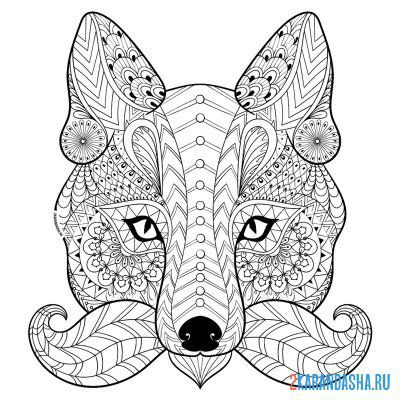 Print a coloring book wolf on A4