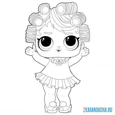 Print a coloring book lol doll pajama party (babydoll) on A4