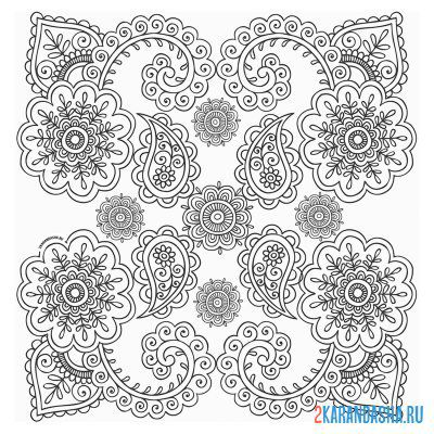 Print a coloring book ornament patterns on A4