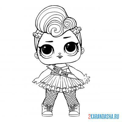 Print a coloring book lol doll with bright hair miss punk (miss punk) on A4