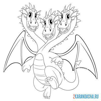 Раскраска змей горыныч трехголовый дракон для детей ...