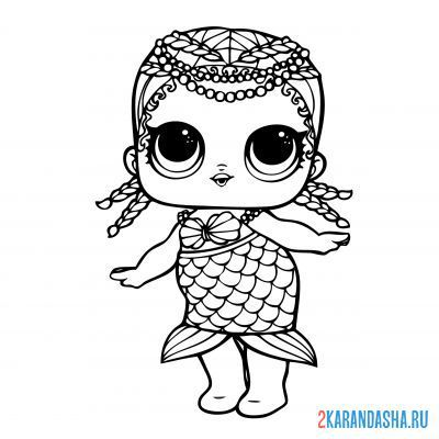 Print a coloring book lol surprise in a skirt with a mermaid tail (merbaby) on A4