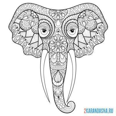 Print a coloring book elephant head on A4