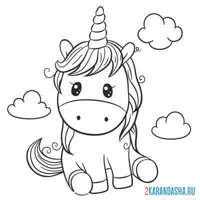 Print a coloring book cute unicorn in the clouds on A4