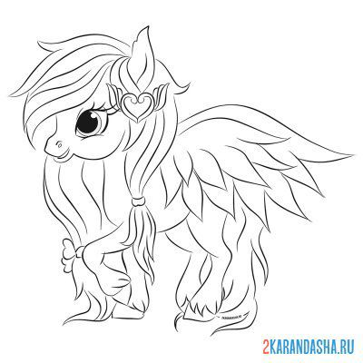 Print a coloring book pink pony with wings on A4
