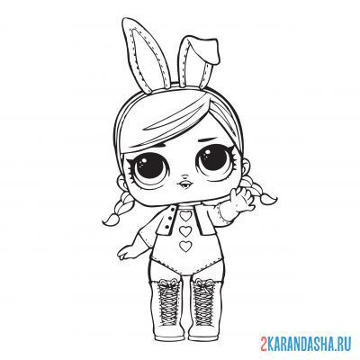 Print a coloring book lol doll with bunny ears (hops) on A4