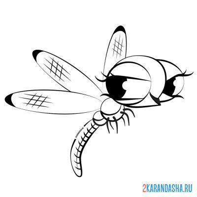 Print a coloring book jumping dragonfly on A4