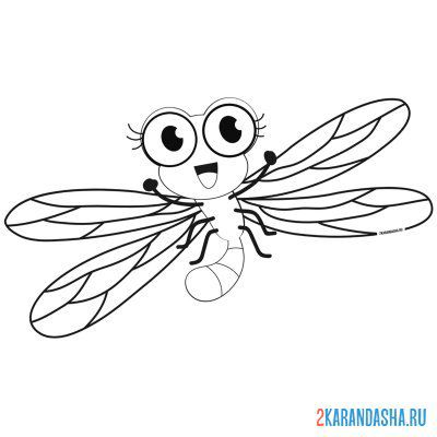 Print a coloring book dragonfly drawing on A4