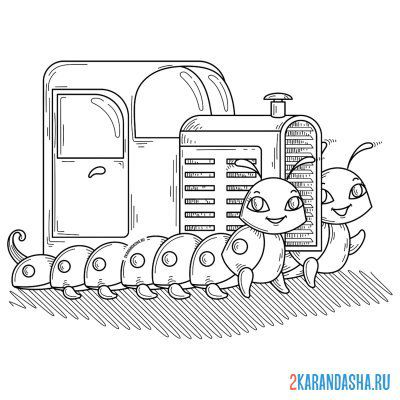 Print a coloring book tractor on A4