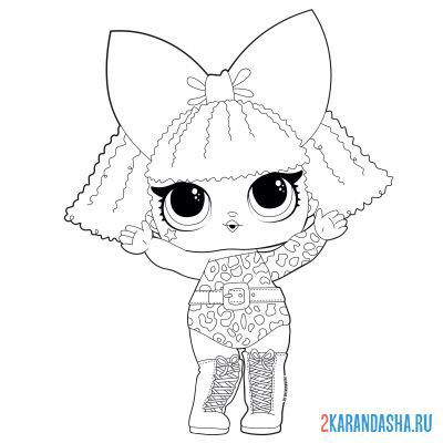 Print a coloring book doll lol girl diva (diva) on A4