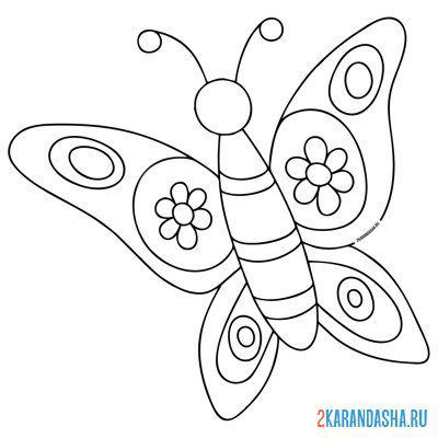 Print a coloring book simple butterfly for baby on A4