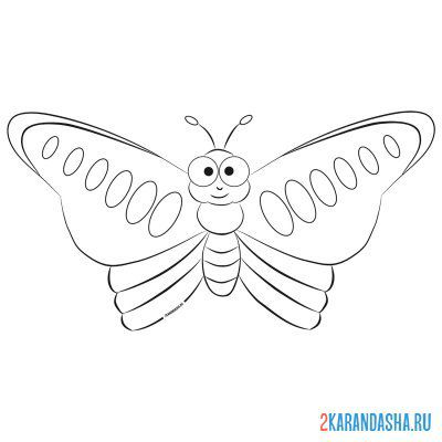 Print a coloring book butterfly for babies 3 years on A4