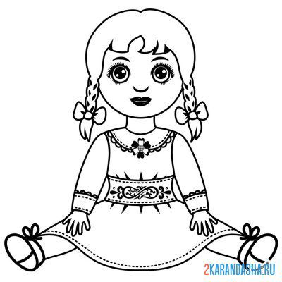 Print a coloring book doll with two pigtails on A4