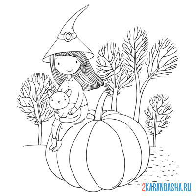 Print a coloring book girl autumn pumpkin on A4