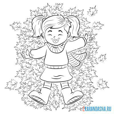 Print a coloring book autumn foliage and girl on A4