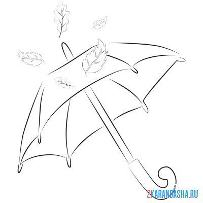 Print a coloring book autumn umbrella and leaves on A4