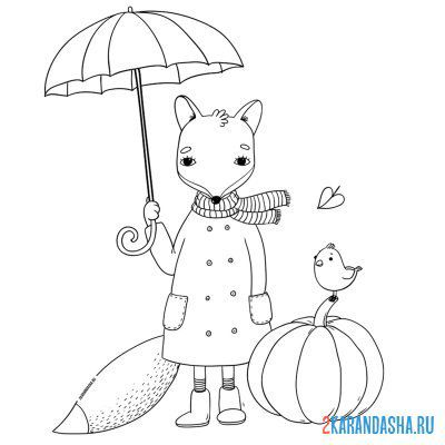 Раскраска Лиса тыква осень для детей распечатать формат А4