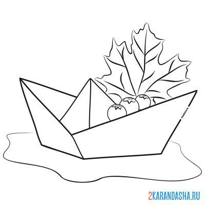 Print a coloring book paper boat and rowan on A4