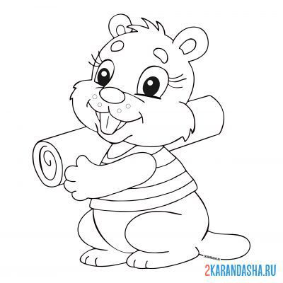Print a coloring book beaver with a log in his hands on A4