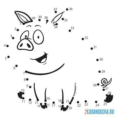 Print a coloring book funny pig on A4